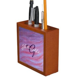 Aanpasbaar Bureau | de Roze Paarse Gestreepte Pennenhouder