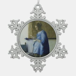 Aanstaande moeder die een Brief lezen Tin Sneeuwvlok Ornament