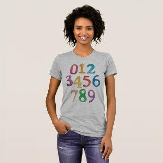 Aantallen aan de T-shirt van Negen Vrouwen