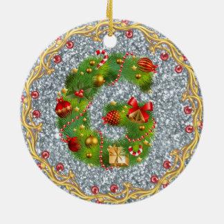aanvankelijk Kerstmisornament met monogram van G - Rond Keramisch Ornament
