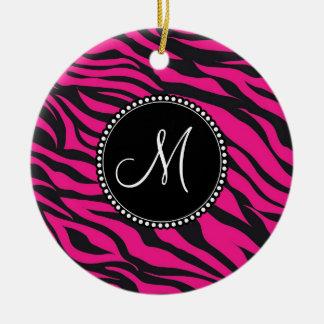 Aanvankelijke Hete Roze Zwarte Zebra het Met Rond Keramisch Ornament