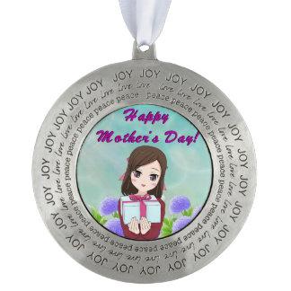 Aanwezig moederdag tin rond ornament