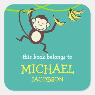 Aap Bookplates/de Etiketten van de School Vierkante Sticker