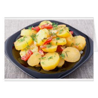 Aardappels met ui, groene paprika en venkel wenskaart