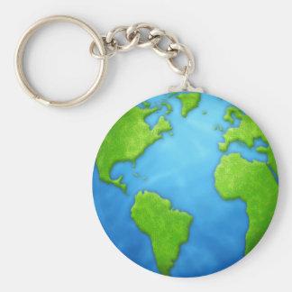 Aarde Keychain Basic Ronde Button Sleutelhanger