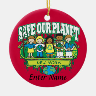 Aarde Kinder New York Rond Keramisch Ornament