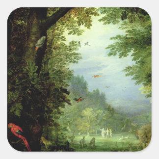 Aarde of het Aardse Paradijs, detail van Adam en Vierkante Sticker