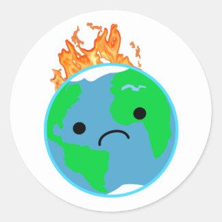 Aarde op Brand Ronde Sticker