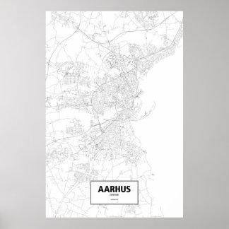 Aarhus, zwart Denemarken (op wit) Poster