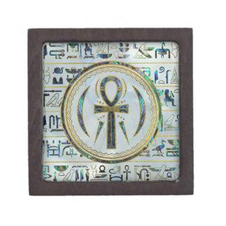 Abalone het Egyptische Dwarssymbool Ankh van Shell Premium Decoratie Doosjes