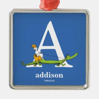 ABC van Dr. Seuss's: Brief A - Witte | voegen Uw Zilverkleurig Vierkant Ornament