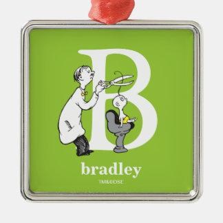 ABC van Dr. Seuss's: Brief B - Witte | voegen Uw Zilverkleurig Vierkant Ornament