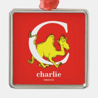 ABC van Dr. Seuss's: Brief C - Witte | voegen Uw Zilverkleurig Vierkant Ornament