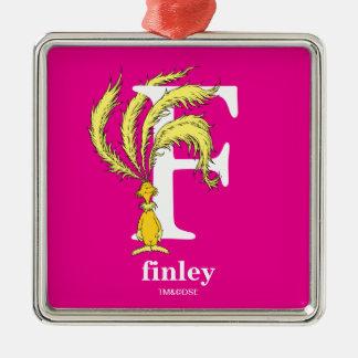 ABC van Dr. Seuss's: Brief F - Witte | voegen Uw Zilverkleurig Vierkant Ornament