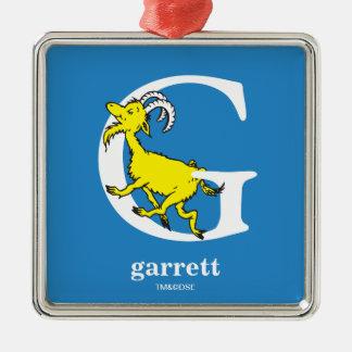 ABC van Dr. Seuss's: Brief G - Witte | voegen Uw Zilverkleurig Vierkant Ornament