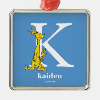 ABC van Dr. Seuss's: Brief K - Witte | voegen Uw Zilverkleurig Vierkant Ornament