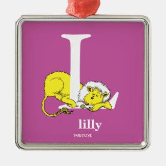 ABC van Dr. Seuss's: Brief L - Witte | voegen Uw Zilverkleurig Vierkant Ornament