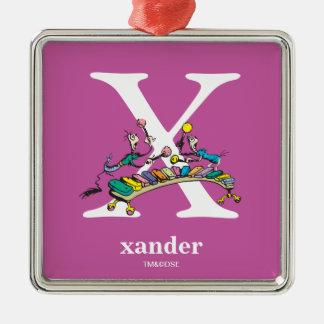 ABC van Dr. Seuss's: Brief X - Witte | voegen Uw Zilverkleurig Vierkant Ornament