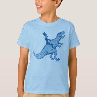 Abe Lincoln die een Kinder T-shirt t-Rex berijden