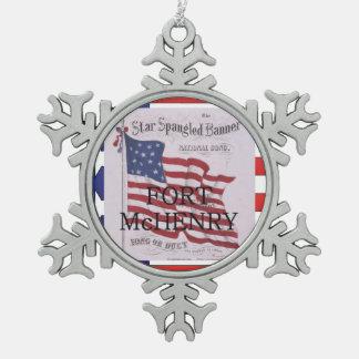 ABH Fort McHenry Tin Sneeuwvlok Ornament