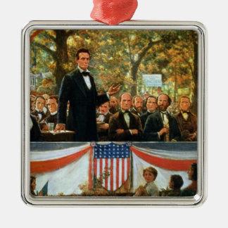 Abraham Lincoln en Stephen A. Douglas Zilverkleurig Vierkant Ornament