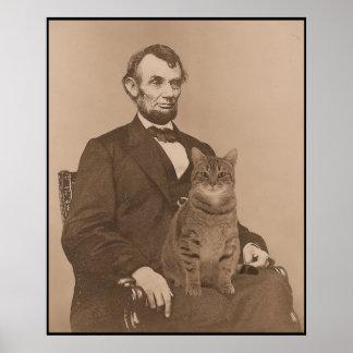 """Abraham Lincoln en zijn kat """"Gloria"""" 2 Poster"""