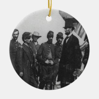 Abraham Lincoln op Slagveld in Antietam Rond Keramisch Ornament