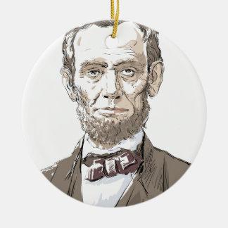 Abraham Lincoln Rond Keramisch Ornament