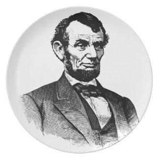 Abraham Lincoln - zwart-witte tekening Party Bord