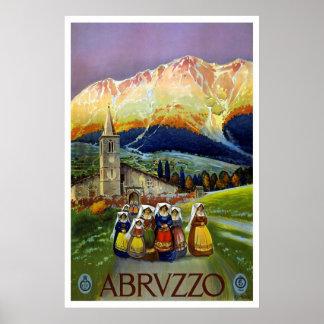 """""""Abruzzo, Italië"""" het Vintage Poster van de Reis"""