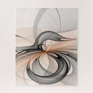 Abstract Antraciet Grijs Fractal van de Vormen van Legpuzzel