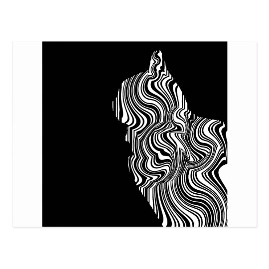 Abstract Black and White Cat Swirl Monochroom Briefkaart