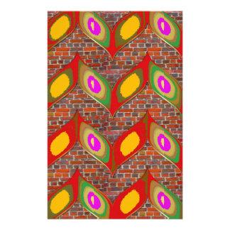 Abstract bladontwerp op bakstenen muur goodluck aangepast briefpapier