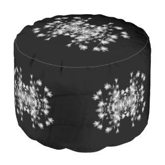 Abstract Bloemen Grafisch Zwart-wit Patroon Poef
