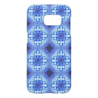 Abstract etnisch geometrisch blauw patroon samsung galaxy s7 hoesje