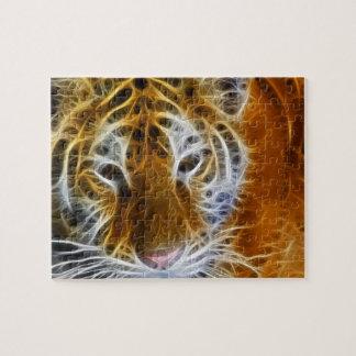 Abstract fractal van het tijgerportret art. puzzel