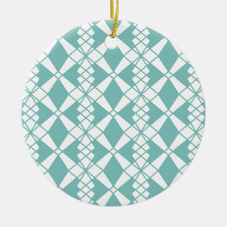 Abstract geometrisch patroon - blauw en wit rond keramisch ornament