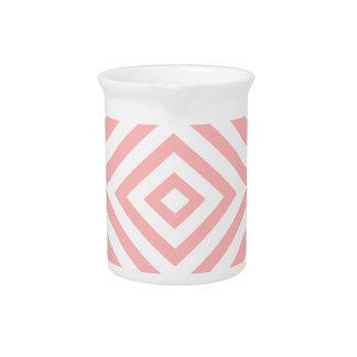 Abstract geometrisch patroon - roze en wit pitcher
