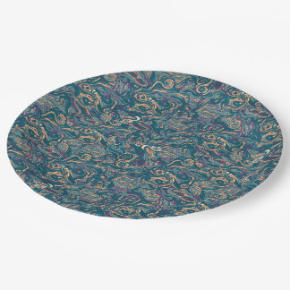 Abstract kleurrijk hand getrokken krullend papieren bordje