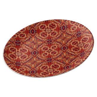 Abstract kleurrijk hand getrokken krullend porseleinen bord
