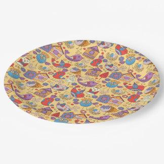 Abstract kleurrijk hand getrokken papieren bordje