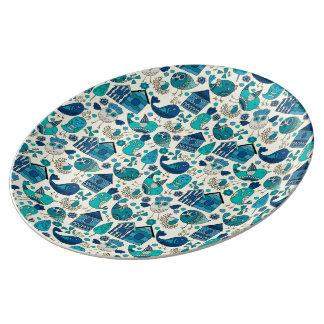 Abstract kleurrijk hand getrokken porselein bord