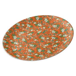 Abstract kleurrijk hand getrokken porseleinen bord