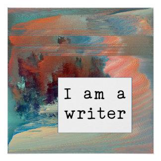 Abstract Koraal, Blauw en Motivatie de Schrijver Poster