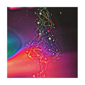 Abstract Licht Schilderend Meisje Houten Canvas Prints