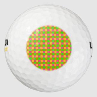 Abstract neon roze groen geruit patroon golfballen