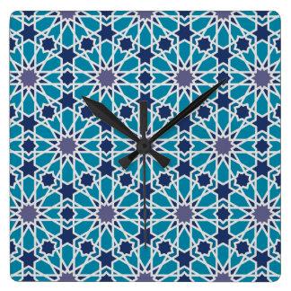 Abstract Patroon in Blauw en Grijs Vierkante Klok