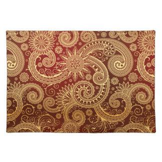 Abstract Rood en Gouden BloemenPatroon Placemat
