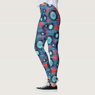 Abstract stip, bellenpatroon, blauw kleurrijk art. leggings