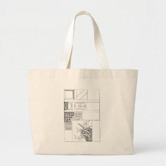 Abstract TextielOntwerp met Bloemen en Vormen Jumbo Draagtas